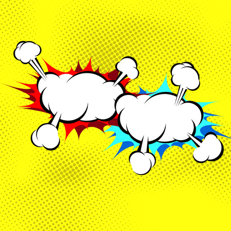comic strips: Two explosion cloud collision retro background in pop art old style. Vector illustration
