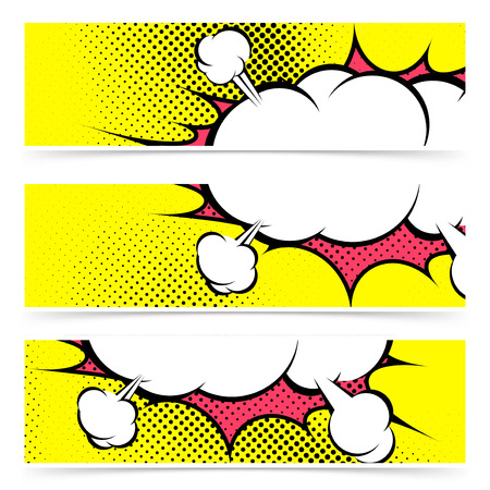 Explosion zap cloud stickers collection in comic style. Vector illustration Vector