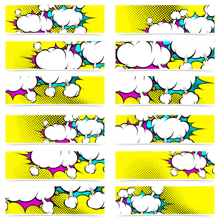 Retro pop art style comic book explosion web header footer collection set of funny funky dotted banner background. Vector illustration Ilustracja
