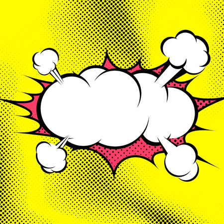 Big retro style comic book explosion cloud template - steam blast over retro pop-art dotted yellow background. Vector illustration