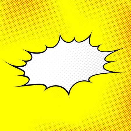 Modern pop art style sign background with explosion cloud in comics book retro dotted style. Vector illustration Illustration