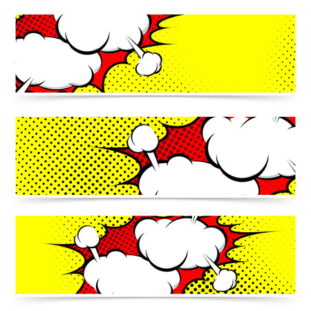 Retro comic style explosion collision flyer collection - white blast steam cloud over yellow dotted background. Vector illustration Vector