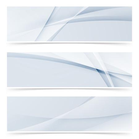 Fashion wave swoosh banner collection design set of modern header or footer web templates. Vector illustration Illustration