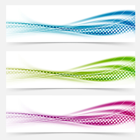 Modern abstract swoosh smooth vivid dotted line headers collection. Vector illustration  イラスト・ベクター素材