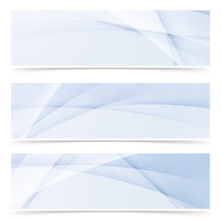 원활한: 라이트 블루 컬러로 부드러운 물결 라인 추상 현대 헤더 수집 된 swoosh. 벡터 일러스트 레이 션