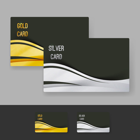 Golden and silver membership luxury card design layout gift exclusive shopping club template. Vector illustration