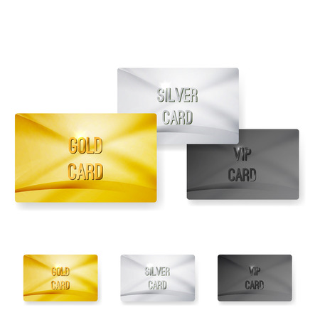 Premium club member vip status card templates exclusive gold silver wave layout. Vector illustration Vector