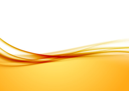 yellow background: Abstract orange swoosh satin wave line border. Vector illustration Illustration