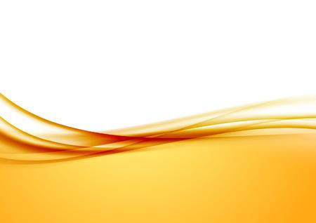 amarillo: Resumen de naranja swoosh frontera línea de las olas de satén. Ilustración vectorial