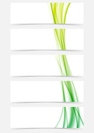 the womanly: Smooth abstract swoosh motion satin line header set. Vector illustration