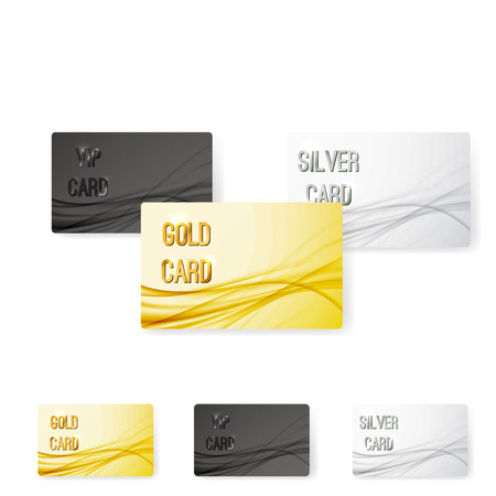 Smooth swoosh wave line premium membership card collection for vip privileged users. Vector illustration Vectores