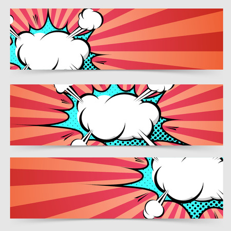 Pop art ray light style header footer collection layout explosion banner set with red stripes.