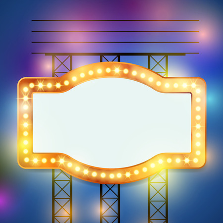 Retro bulb circus cinema light sign template. Vector illustration