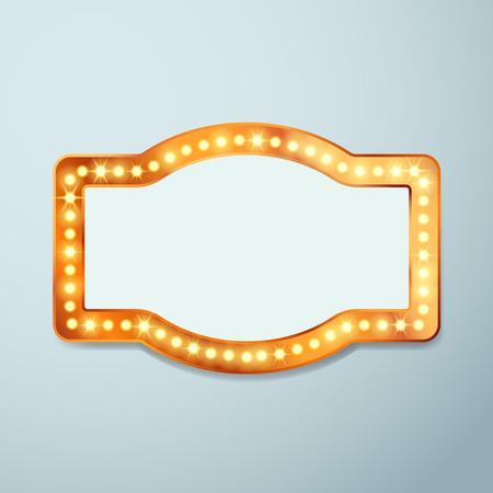 Bombilla circo retro plantilla de muestra de la luz cine - casino teatro viejo marco de época o de circo iluminado bandera. Ilustración vectorial Ilustración de vector