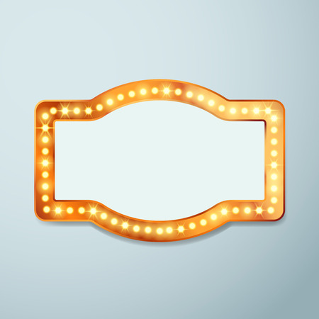 Retro bulb circus cinema light sign template - vintage old frame theater casino or circus illuminated banner. Vector illustration Иллюстрация