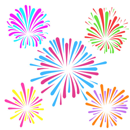 Festive fireworks pattern template layout colorful explosion isolated. Vector illustration Vector