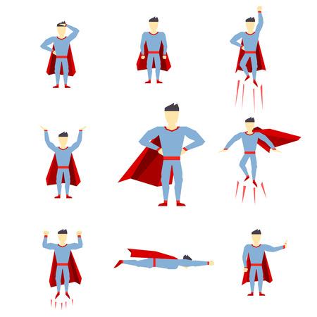 Superhero comic book style page cartoon pose collection. Vector illustration Illustration