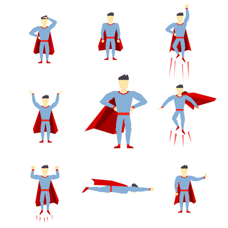 Superhero comic book style page cartoon pose collection. Vector illustration Vector