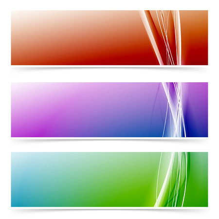 Abstract neon line colorful header footer set.