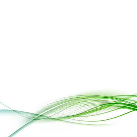 Transparent smooth swoosh abstract halftone background green blue line layout.  Ilustração