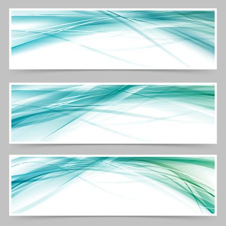 Modern blue swoosh line flyer collection header web footer layout set.