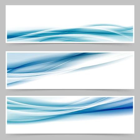 추상 파란색 물결 라인 웹 바닥 글 설정 설정 현대 헤더. 일러스트