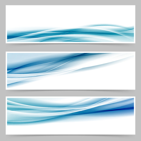 Moderne header set met abstracte set web voettekst blauwe golf lijnen. Stock Illustratie