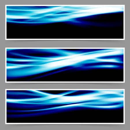 swoosh: Energy speed swoosh blue wave header set.  Illustration