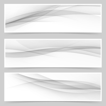 Grey soft line web header collection abstract soft wave layout set.