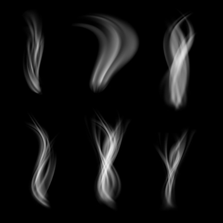 vapor: Smoke abstract pattern web set collection isolated steam cloud vapor layout over black.