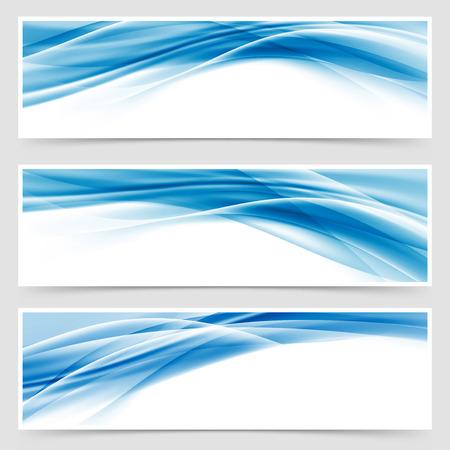 美しいハイテク青いヘッダー フッターのスウッシュ コレクション web 現代抽象的な透明な罫線レイアウト。ベクトル図