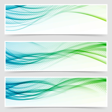 headers: Bright eco swoosh line header web set. Vector illustration