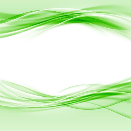 滑らかなグリーンのスウッシュ エコ ボーダー抽象的なレイアウト。ベクトル図