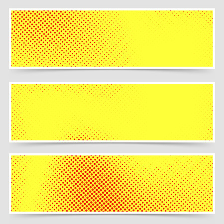 Pop-art dotted retro style yellow flyer collection old comic book polka dot template. Vector illustration