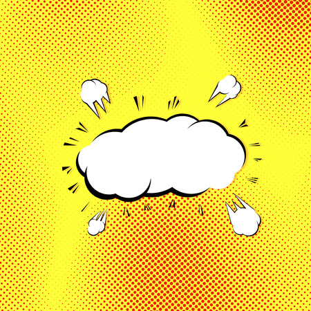 Retro style pop-art explosion steam cloud comics book old style background. Vector illustration Vector