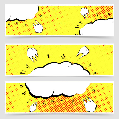 Retro vintage pop-art style yellow header set dotted yellow background comic book. Vector illustration
