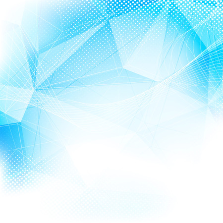 business abstract: Crystal structure modern abstract blue layout dotted swoosh line pattern background. Vector illustration