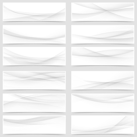 Mega web header footer banner collection of abstract swoosh line layout flyers. Vector illustration