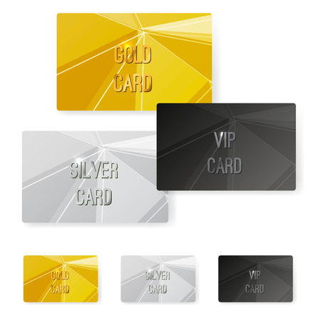 vouchers: Crystal structure metal premium card collection. Vector illustration