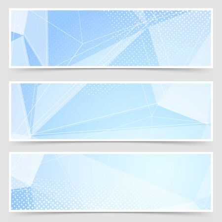 geometric lines: Crystal header collection templates set design modern icy layout. Vector illustration