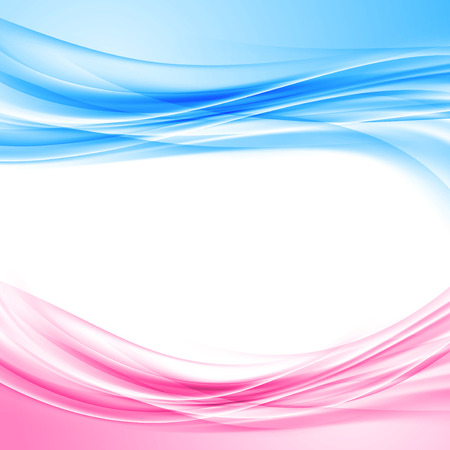 Bright blue and pink border abstract background wave pattern layout template. Vector illustration