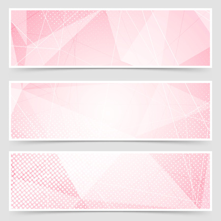 web backdrop: Red crystal structure abstract header set layout collection. Vector illustration