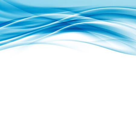 柔らかい滑らかな現代的な抽象的な青い波ボーダー ハイテク現代背景カード レイアウトのスウッシュ連勝ライン パターン - 美しい証明書テンプレ