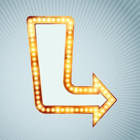 bombillo: Brillante bombilla flecha apuntando firmar estilo retro cómico dirección vendimia flecha marquesina.