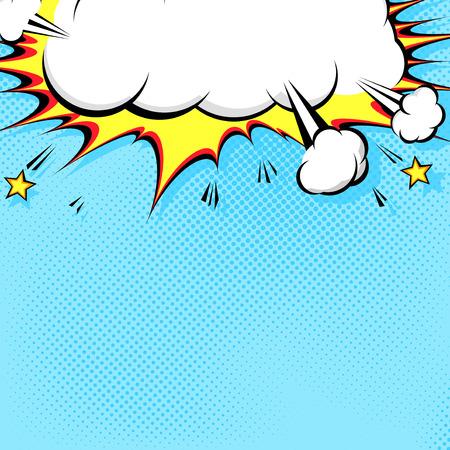 historietas: Ilustración del cómic con la explosión en la parte superior. Vectores