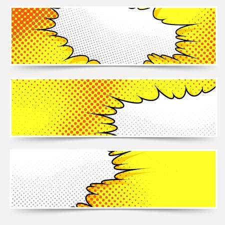 Pop アート コミック スタイル黄色ヘッダー セット。