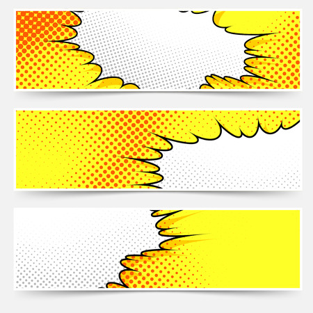 Pop-art comic book-stijl geel header set. Stock Illustratie