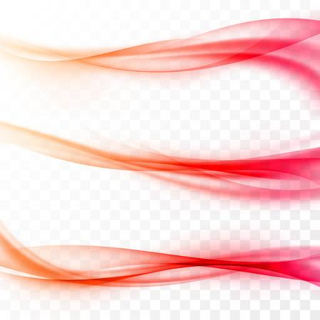 Abstract smooth red swoosh web wave set transparent border satin speed light modern layout.  Illustration