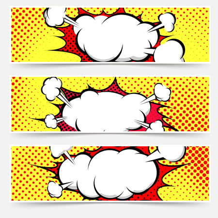 Comic book style pop-art header set with white explosion cloud and red splash under it.  イラスト・ベクター素材