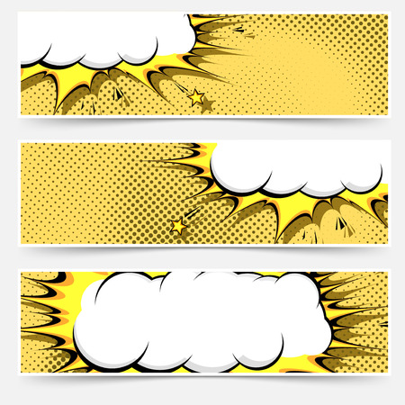 Pop-art comic book style web flyer layout collection in orange color with polka dot and explosion retro cloud.